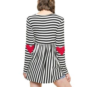 Tops - Babydoll Striped LS Tunic Top Red Heart Elbows